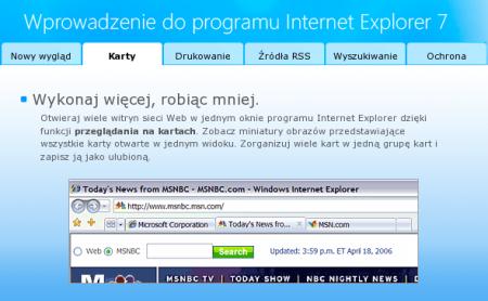 Krótkie info o przeglądaniu w kartach na polskiej stronie domowej Internet Explorera