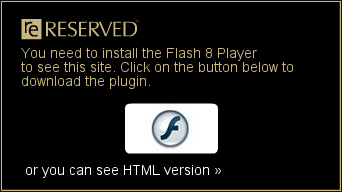 Nadal pojawia się komunikat o wymogu posiadania Flash 8 Player, ale oprócz tego tekst: 'or you can see HTML version'