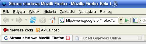 Poprzednia propozycja wyglądu głównego okna Firefoksa