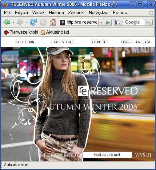 Zrzut ekranu - strona Re-Reserved