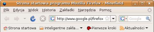 Ikony są pobierane z domyślnego GNOME-owego motywu. Firefox 3.0 po pierwszym uruchomieniu na nowym profilu. Przyciski Wstecz, Do przodu i Zatrzymaj są wyszarzone