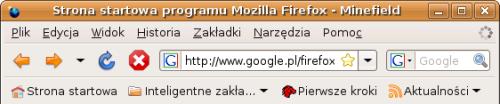 Ikony są pobierane z domyślnego GNOME-owego motywu. Firefox 3.0 po chwili używania, strona w trakcie ładowania, dodana wcześniej do zakładek. Wszystkie przyciski są w swoim kolorze. Wstecz i Do przodu są zielone, Odśwież niebieski, Zatrzymaj czerwony