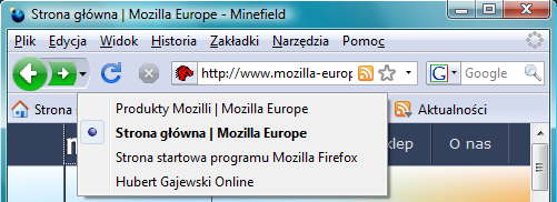 Firefox w Windows Vista. Widoczna lista rozwijana od przycisków Wstecz i Do przodu