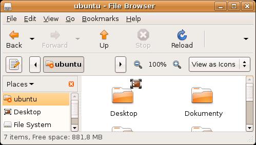 Nautilus w Ubuntu. Ikony są takie same jak, na zrzutach ekranu Firefoksa