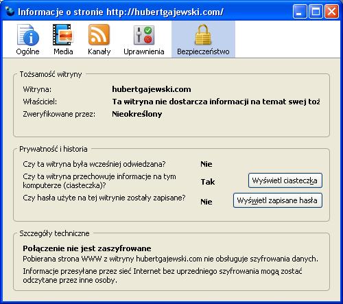 Firefox 3.0 Trunk - Informacje o stronie - Bezpieczeństwo