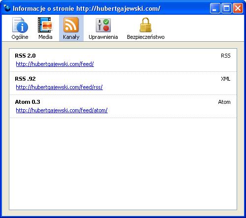 Firefox 3.0 Trunk - Informacje o stronie - Kanały