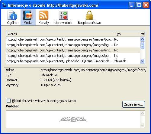 Firefox 3.0 Trunk - Informacje o stronie - Media