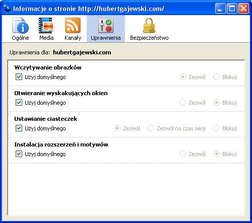 Firefox 3.0 Trunk - Informacje o stronie - Uprawnienia