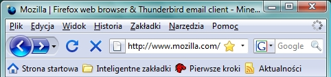 Firefox w Windows Vista - główne okno, podstawowe ikony aktywne