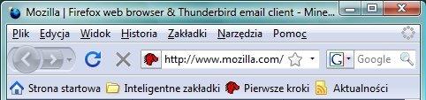 Firefox w Windows Vista - główne okno, podstawowe ikony nieaktywne