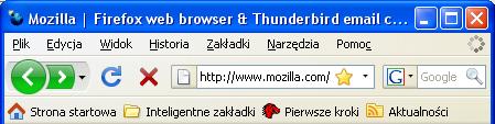 Firefox w Windows XP - główne okno, podstawowe ikony aktywne