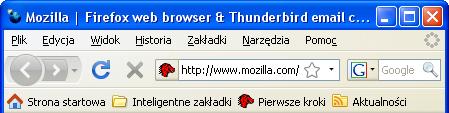 Firefox w Windows XP - główne okno, podstawowe ikony nieaktywne