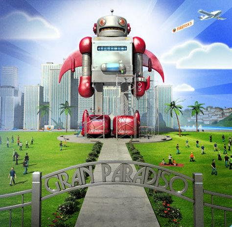 Robot w Gran Paradiso - ze strony startowej programu Firefox 3 Beta 5