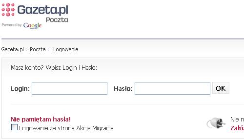 Nie pamiętam hasła! - odnośnik na stronie logowania w portalu Gazeta.pl