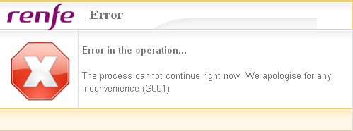 Komunikat: Error in the operation... The process cannot continue right now. We apologise for any incovenience (G001)