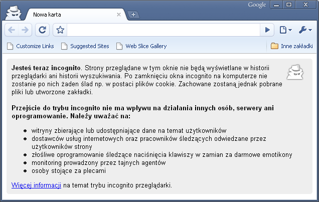 Tryb Incognito w Google Chrome