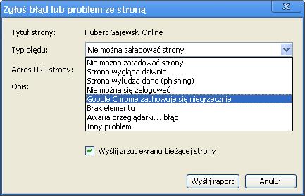 Okno Zgłoś błąd lub problem ze stroną. Lista typów błędów, m.in.: Google Chrome zachowuje się niegrzecznie