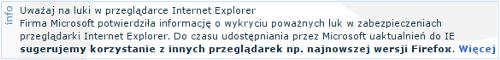 Komunikat na stronie logowania https://secure.inteligo.com.pl/
