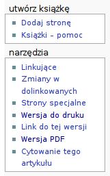 """Widok narzędzi z opcją """"Wersja PDF"""" i """"Dodaj stronę"""", umieszczonego w ramach """"utwórz książkę"""""""