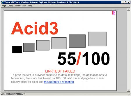 Wyniki testu Acid 3 uruchomionego w IE9 (55 punktów na 100 możliwych)