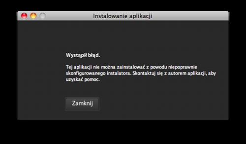 Komunikat: Wystąpił błąd. Tej aplikacji nie można zainstalować z powodu niepoprawnie skonfigurowanego instalatora. Skontaktuj się z autorem aplikacji, aby uzyskać pomoc.