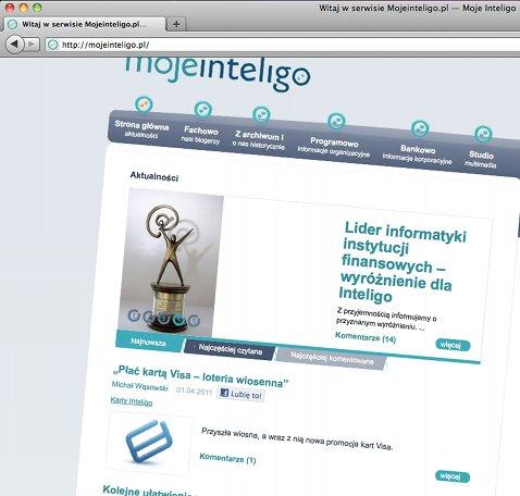 Strona MojeInteligo.pl przekręcona o 5 stopni w prawo