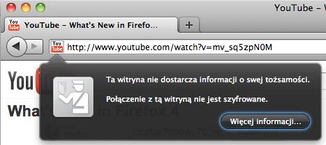 Dymek wyświetlony po kliknięciu ikony w pasku adresu, a w nim przycisk Więcej informacji...