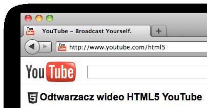 Strona youtube.com/html5 (odtwarzacz wideo HTML5 YouTube)