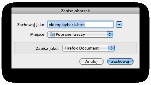 Okno zapisywania pliku z zaznaczoną nazwą videoplayback.htm