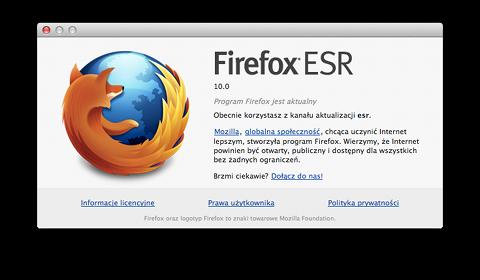 Okno O programie Firefox