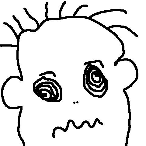 Rysunek: twarz człowieka z zahipnotyzowanymi oczami z niewyraźną miną