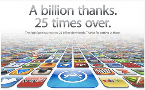 Tekst nad obrazkiem z wieloma ikonami: A billion thanks. 25 times over. The App Store has reached 25 billion downloads. Thanks for getting us there.
