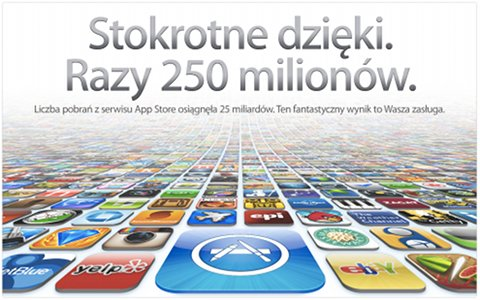 Tekst nad obrazkiem z wieloma ikonami: Stokrotne dzięki. Razy 250 milionów. Liczba pobrań z serwisu App Store osiągnęła 25 miliardów. Ten fantastyczny wynik to Wasza zasługa.