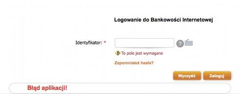 Strona logowania, komunikaty: Błąd aplikacji!, To pole jest wymagane, Zapomniałeś hasła? (każde w innym kolorze)