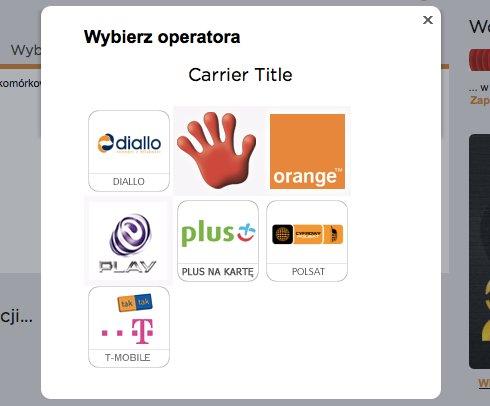 Dziwny tytuł: Carrier Title nad logotypami operatorów komórkowych