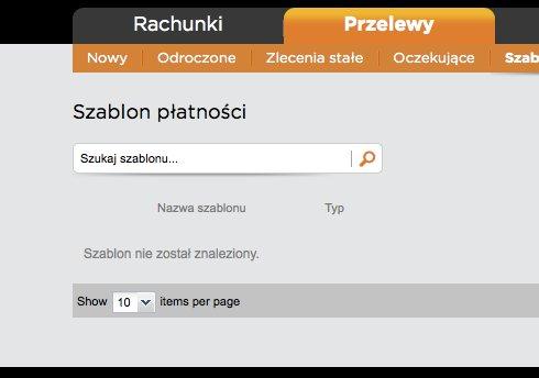 Wyszukiwarka szablonów, do której nic nie wpisałem i komunikat: Szablon nie został znaleziony
