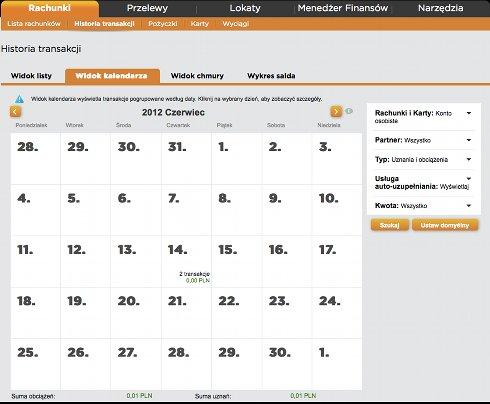 Widok kalendarza, w każdym dniu jest podana liczba i suma transakcji