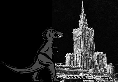Maskotka Mozilli zbliża się do Pałacu Kultury i Nauki w Warszawie