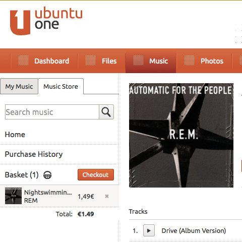 Utwór Nightswimming dodany do koszyka w Ubuntu One Music Store