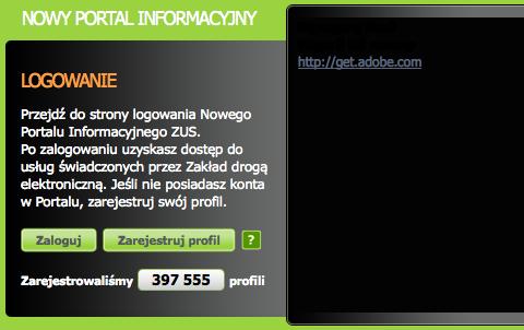 Pusty czarny element strony z napisem: http://get.adobe.com