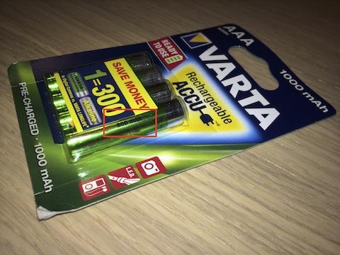 Opakowanie akumulatorów Varta (na opakowaniu: 1000 mAh, napis na akumulatorze: 800 mAh)