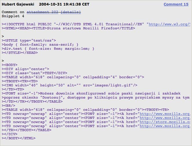 Kawałek strony w HTML-u